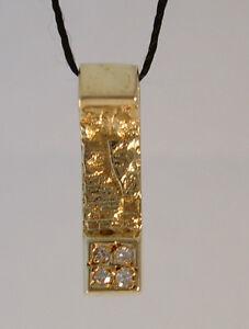Anhänger aus 585/- Gold im skandinavischen Design mit 4 Diamanten