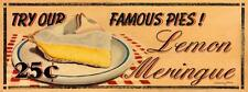 Lemon Meringue Pie Metal Sign, Vintage Diner Desserts, Retro Kitchen, Cafe Decor