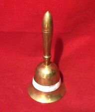 "Antique OLD BRASS Bell  Mother-of-Pearl Inlay  5.5"" School Tea Dinner Bell India"