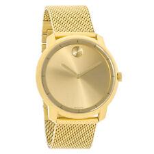 Movado Bold Mens Gold Dial Mesh Bracelet Swiss Quartz Watch 3600373
