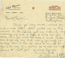 Ethel Manners Theatre Actress Vintage Hand written and Signed Letter