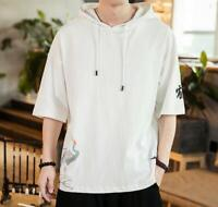 Mens Summer Half Sleeve Hooded Shirt Chinese Floral Cotton Casual Tops T-shirt