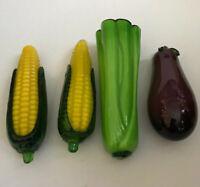 4 Pcs Vintage Murano Style Blown Glass Vegetable Decorations