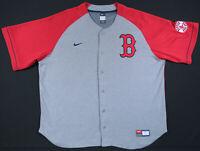 Vintage Boston Red Sox Sewn Nike Team Gray Red MLB Baseball Mens Jersey XXL