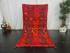 Vintage Moroccan Tribal Handmade Rug 3'2 x 6'3  Geometric Red Berber Wool Carpet