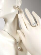 9.5mm white South Sea pearl set(R/G,E/R,PDT),diamonds,solid 14k white gold.
