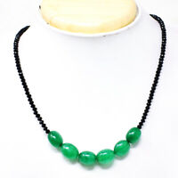 80.00 Cts Earth Mined Faceted Black Spinel & Emerald Beads Necklace NK 20E60