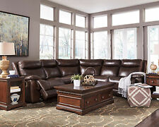 MANTECA 5pcs NEW  Living Room Brown Leather Reclining Couch Sofa Sectional Set