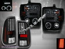 08-10 FORD F250 F350 F450 CCFL HALO PROJECTOR HEADLIGHTS + LED TAIL LIGHTS BLACK