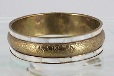 BRASS BANGLE FLORAL DESIGN MOTHER OF PEARL BORDER BRACELET FASHION 3727