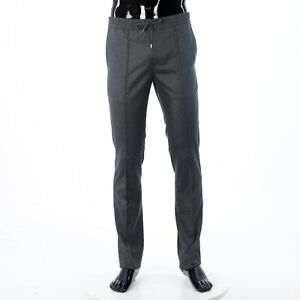 BRIONI 1000$ Gray Cashmere & Wool Dress Pants / Trousers With Drawstring