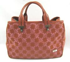 TUMI Signature Collection Handbag Pink & Brown Purse Nylon & Leather T Logo Bag