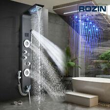 Schwarz Edelstahl Duschpaneel Duschsystem LED Wasserfall regendusche massage set