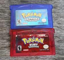Pokemon Sapphire + Ruby Version Game Boy Advance GBA Lot Authentic New Save Batt