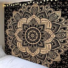 Black Gold Ombre Indian Mandala Cotton Bohemian Hippie Tapestry Boho Home Decor