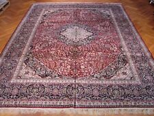 Hand-Knotted Rug 10' X 14' Silk Red - Black Rug Authentic