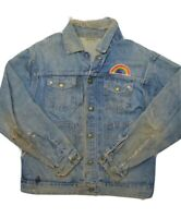Vintage Big Smith Buckaroo Denim Jacket Size M Distressed Patches Sanforized
