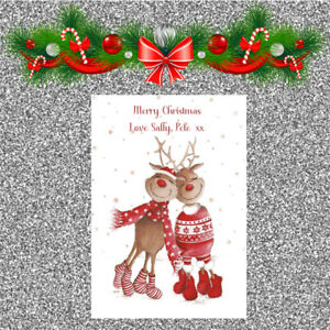 Personalised Christmas Cards x 10 Free Envelopes Family Friends 52
