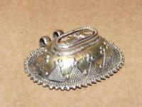 VTG Ethnic Tribal Sterling Silver Puffy Beaded Bali Style Necklace Pendant 21.8g