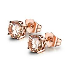 Girls Chic Rose Gold Filled Champagne Topaz  Gemstone Stud Earrings For Women