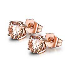Girls Chic Rose Gold Filled Champagne Topaz  Gemstone Stud Earrings For Women