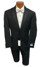 New Men's Black Calvin Klein Tuxedo with Flat Front Pants Groom Mason 38XL 32W