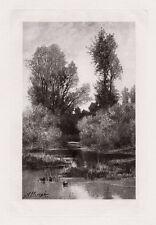 "Splendid 1800s Auguste Allonge Antique Print ""A Lowland Brook"" Framed SIGNED COA"