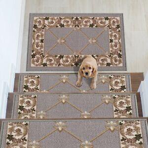 Fleur De Lis Design Carpet Stair Treads/Mat Slip Resistant 8.5''x26.5''