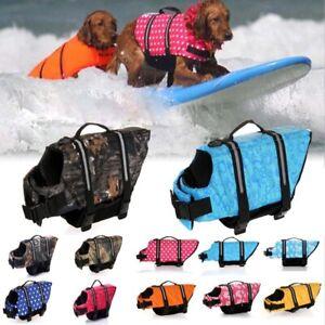 Dog Beach Puppy Swim Life Jacket Safety Vest Reflective Stripes Pet Supply
