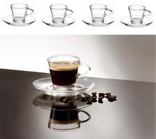 4 Cancella le piccole il caffè espresso in vetro tazze e piattini 80ml Set di 4 in Scatola
