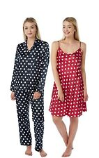 Ladies Red Navy Satin Chemise PJs Pyjamas Set Nightshirt plus size 8 - 34