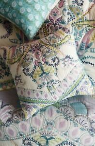 Anthropologie Euro Sham Florilla Paisley Turquoise Ivory Quilted Artisan Col NEW