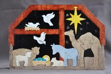 Nativity Puzzle Manger Stable Decor Christmas Scene Wooden Puzzles Hand Made