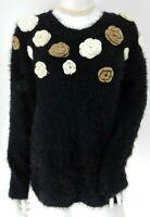 Black Fluffy Stretch Cream Crochet Flower Jumper UK 14 EU 42 Boho Festival Hippy