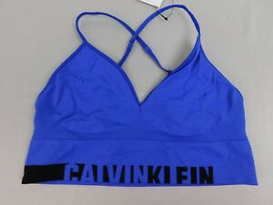 Calvin Klein QF1567 Strappy Longline Convertible Bralette Blue Large #593
