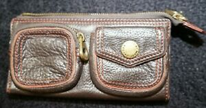 Marc by Marc Jacobs brown orange stitch leather wallet for women