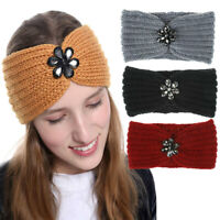Baroque Crystal Knitted Headband Solid Warm Hairband Women Girl Hair Accessories