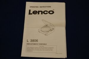 Lenco L-3806 Turntable Instructions for Use