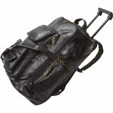 "19"" Black Genuine Leather ROLLING BACKPACK Trolley Wheeled Bag Carry On Luggage"