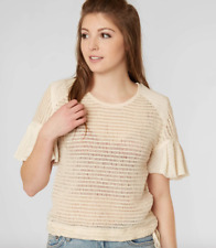 Free People Babes Only Open Weave Knit Ruffle Sleeve Top in Cream Size L