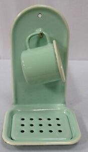 Enamel Soap Dish, Wall Soap Holder, Wall Bowl With Cup, Pastel Mint