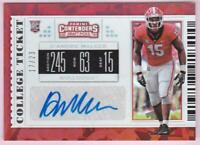 D'ANDRE WALKER RC 2019 CONTENDERS DRAFT COLLEGE TICKET CRACKED ICE AUTO #17/23