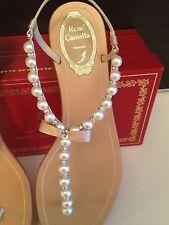 New Authenic Rene Caovilla Iconic Pearl Cystal Bow Leather Sandal Champagne RARE