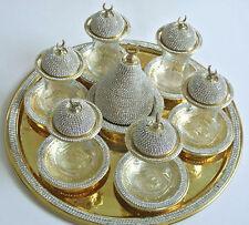 Handmade Copper Turkish Tea Water Zamzam Serving Set Swarovski Coated Gold Color