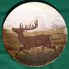"Early Doulton Lambeth Florence Barlow Hand Painted ""The Stag"" Wall Plate Plaque"