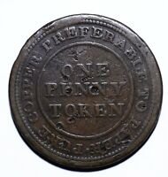 1813 Nova Scotia Canada One Penny Token Trade & Navigation - Lot 351
