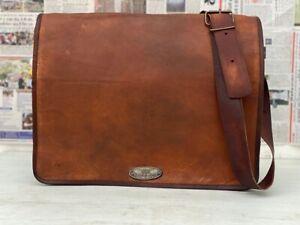 Men Vintage Leather Messenger Shoulder Laptop Bag Briefcase Crazy Goat Leather