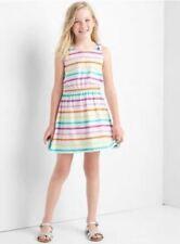 GAP Kids Girls Dress 14 16 Tank Rainbow Striped Bow Tie Tank Elastic Cotton New
