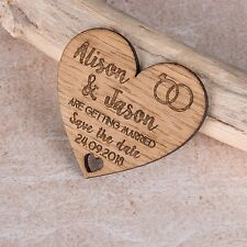 Personalised Engraved Wooden Heart Save The Date Wedding Fridge Magnet Invites