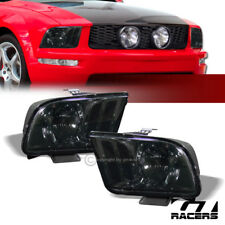 For 05-09 Ford Mustang Euro Smoke Housing Clear Lens Headlights Headlamp Pair Dy